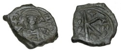 Ancient Coins - Maurice Tiberius 582-610-AD AE 1/2 Follis S-497