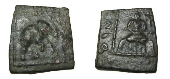 Ancient Coins - Indo-Skythian Mauers Ca 90-57 BC AE Hemi-Obol M# 2201 S!