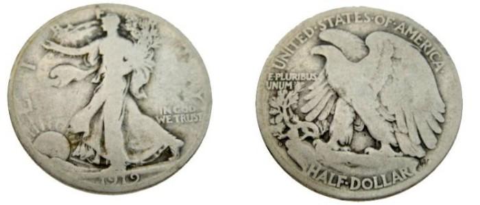 US Coins - 1919-D Walking Liberty Half