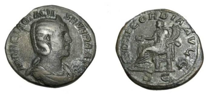 Ancient Coins - Otacilia Severa 249 AD AE Sestertius Concordia Avg RIC 203a