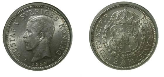 World Coins - Sweden 2 Kroner 1938 Ch XF KM # 787