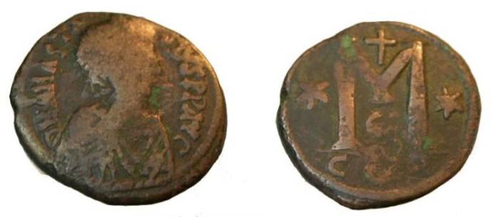 Ancient Coins - Byzantine Anasatsius I AE Follis