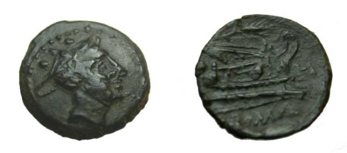 Ancient Coins - Æ sextans, 211-208 BC. Sicily, Draped bust of Mercury right,