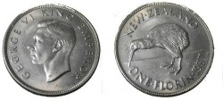 World Coins - 1937 New Zealand George VI 1 Florin Y-11