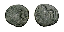 Ancient Coins - Kingdom of Choresmia Imitation Heraios Early 1st Century AD Balkh R! AE drachm M-1879/85