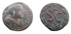 Ancient Coins - Roman Provincial Syria, Antioch Diadumenian 218 AD  AE18 3.88 gm Bust R / SC in wreath