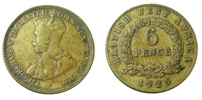 World Coins - 1925 Nigeria George VI 6 Pence Y-11