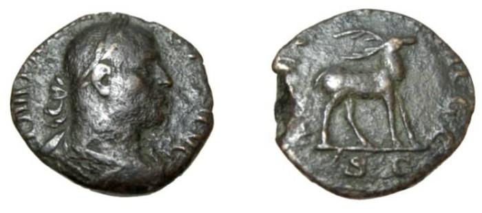 Ancient Coins - Philip I 244-249AD AE Sestertius Rev Stag Left  S-2601