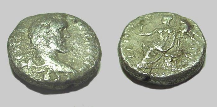 Ancient Coins - Antoninus Pius Billion Tetradrachm Roma seated L