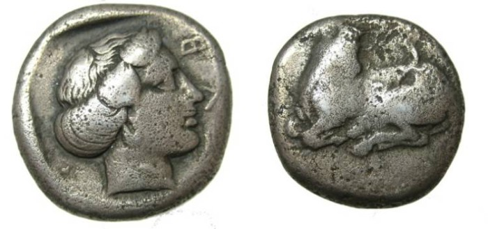 Ancient Coins - EUBOIA, Eretria. 411-404 BC. AR Stater