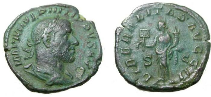 Ancient Coins - Philip I 244-249 AD AE Sestertius