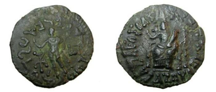 Ancient Coins - Indo Skythians Azes II 35BC - 5AD AE Penta Chalkon