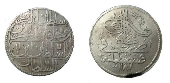 World Coins - Turkey Abdul Hamid I AH 1187-1203 (1774 - 1789 AD) Piastre 1187 Yr 11 KM # 398