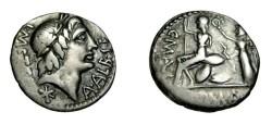 Ancient Coins - Poblicus Malleolus 96 BC AR Denarius RCI 220