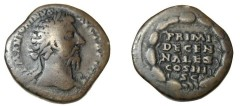 Ancient Coins - Marcus Aurelius 139-180AD AE Sestertius PRIMI DECENNAIES COS III SC RIC 1003