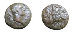 Ancient Coins - sicily, Panormos Augustus 27BC - 14AD  AE22 Bare Head R / Triskeles With Gorgoneion at center