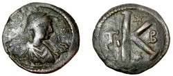 Ancient Coins - Justin I 518-517AD AE1/2  Follis Cyzicus Off β