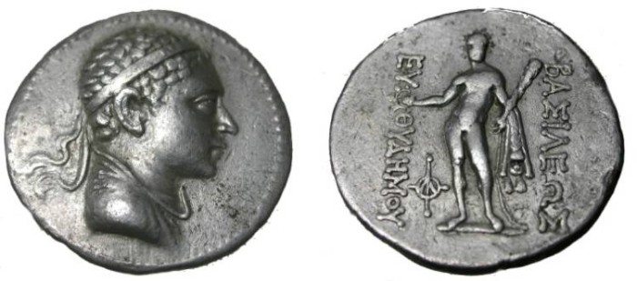 Ancient Coins - KINGS of BAKTRIA. Euthydemos II. Circa 185-180 BC. AR Tetradrachm