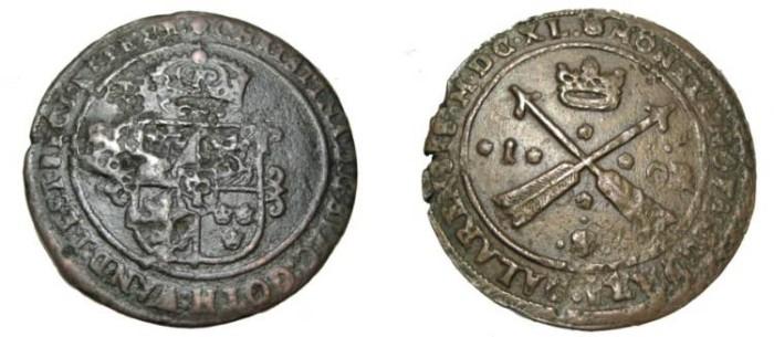 World Coins - Sweden Christina 1632-1654 Avesta 1 Ore 1633 MDCXXXVIII KM# 161