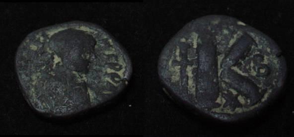 Ancient Coins - Justin I 518-527AD Half Follis