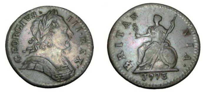 World Coins - 1773 George III Farthing obv 1