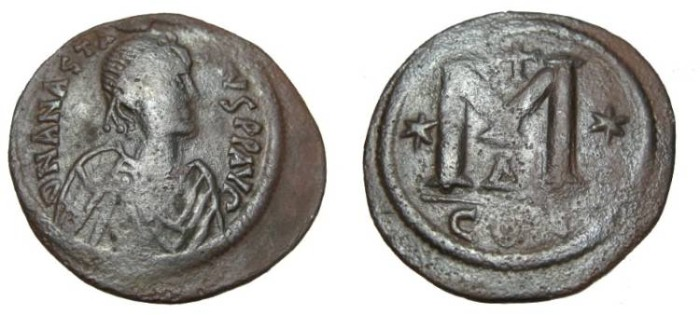 Ancient Coins - The Byzantine Empire Anastasius 491 - 518 AD AE Follis Constantinople Off Δ S#-19