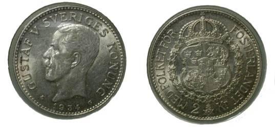 World Coins - Sweden 2 Kroner 1934 Ch XF KM # 787
