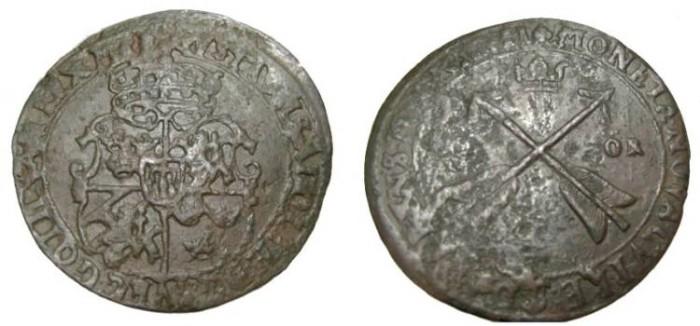 World Coins - Sweden Gustav II Adolf 1611-1632 Sater 1 Ore 1627  KM# 115