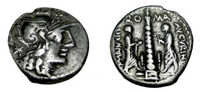 Ancient Coins - Minicia - 9 Ti minucius C.f. Augurinus 134BC AR Denarius 3.70gm