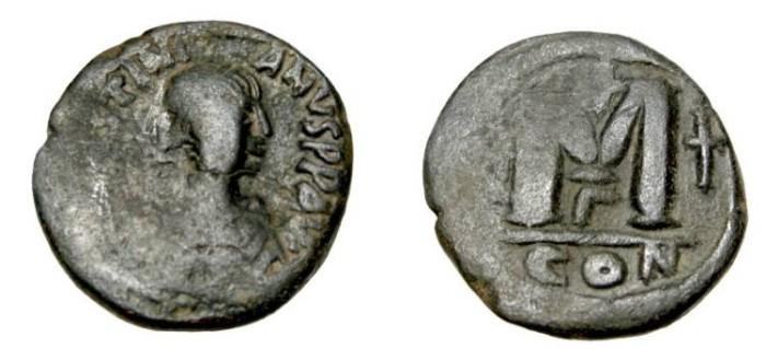 Ancient Coins - Justinian I 527-565AD AE Follis Constantinople Off Γ