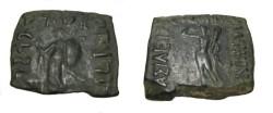 Ancient Coins - Indo-Skythian  Vonones Ca 100-65 BC AE Hemi-Obol M-2154/6 R!
