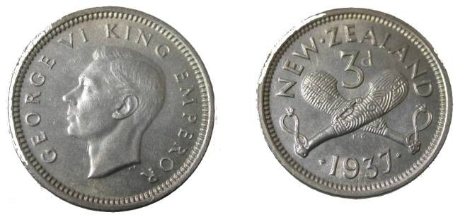 World Coins - 1947 New Zealand George VI 3 Pence Y-15
