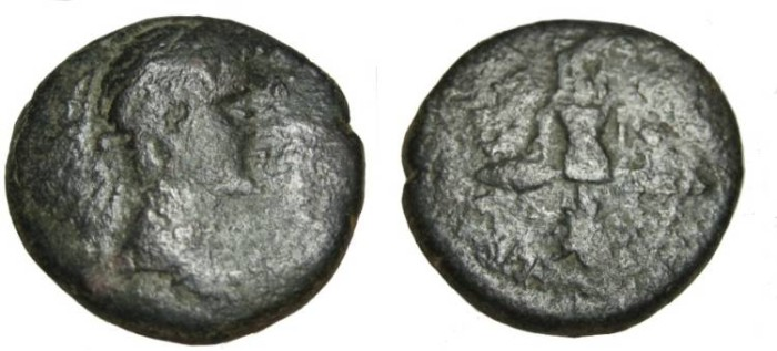 Ancient Coins - Augustus & Tiberius Caesar Megalokles Artist Strategos AE24 RPC 1428 Roger 66-7