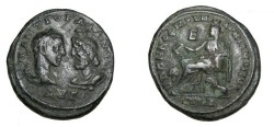Ancient Coins - Gordian III 238 - 244 AD Marcianopolis Moesia Inferior AE30 5 Assaria Cybele Lion at feet