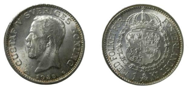 World Coins - Sweden 1 Kroner 1936  CH BU KM # 786.2
