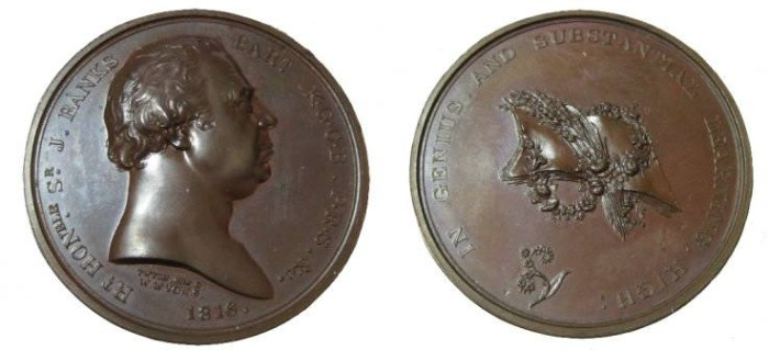 World Coins - Great Britiain 1816 J Banks AE 40 mm Medal by Wyon & Wyon