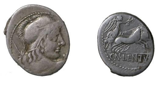 Ancient Coins - Cn Lentulus Clodianus Denarius, 88 BC.