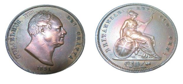World Coins - Great Britain  William III 1d  1831  KM707