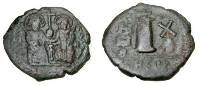 Ancient Coins - Justin II 565-578 AE Decanummium Theoupolis
