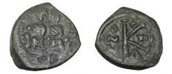 Ancient Coins - Justin II 563-578 AD AE 1/2 Follis Yr12 Justin & Sophia enthroned Lg K