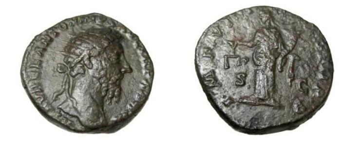 Ancient Coins - Marcus Aurelius 139-180AD AE Dupondius IMP VIII COS III PP SC RIC 1237