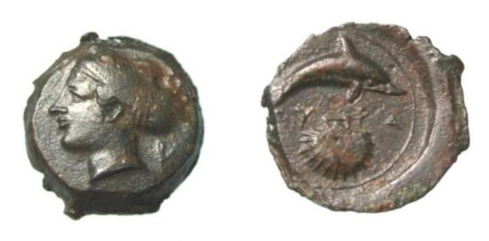 Ancient Coins - Sicily  Syracuse Ca 405 BC AE Hemidrachm 16mm3.62 gm SNG ANS 415