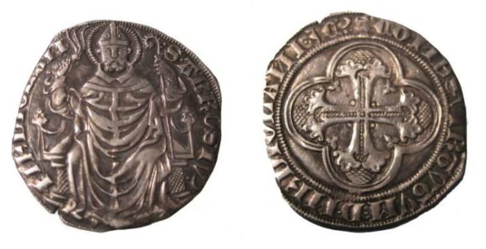 World Coins - Milan Italy 1395 -1402 Gian Galeazzo Viscont Duke  AR Pegione