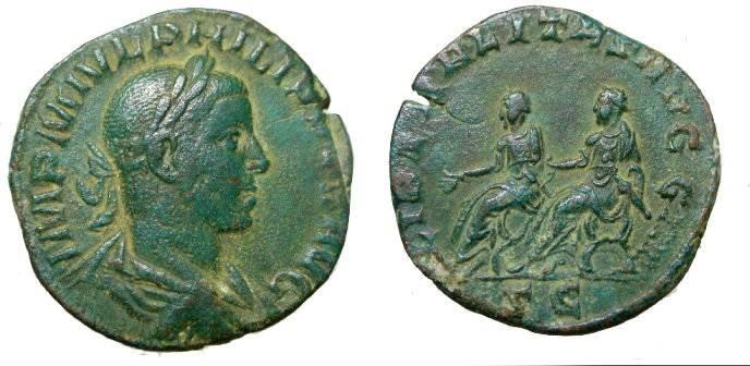 Ancient Coins - Phillip II 247 - 249 AD AE Sestertius