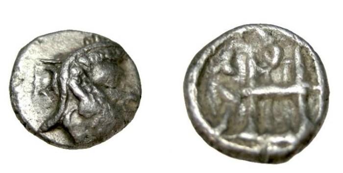 Ancient Coins - Persis Darius I 140's BC AR Hemi-drachm S# 6198