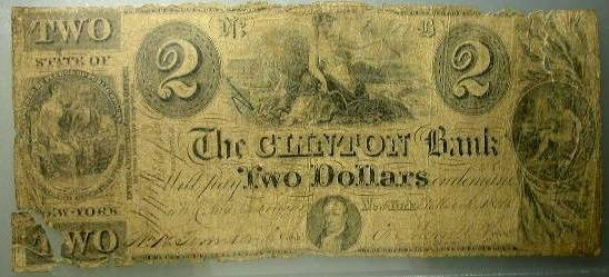 US Coins - New York State – The Clinton Bank  1840 Two Dollar