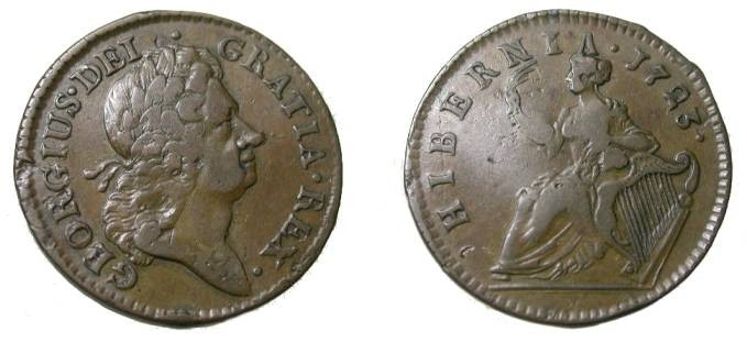 World Coins - Ireland 1723 1/2 P Woods Hibernia