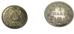 World Coins - German Empire  1905G 1 mark KM 14