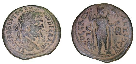 Ancient Coins - Septimus Severus 193-211 AD AE 32 Pisidia Antiochia 26.75gIMPCAESE SEP SEV ERVS PER AVG