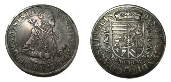 World Coins - Austria 1564-1595 Archduke Ferdinand Taler ND Hall Mint
